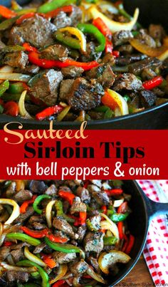 Sauteed Sirloin Tips With Bell Peppers And Onion Beef Recipes Beef Tip Recipes, Grilled Steak Recipes, Beef Tips, Onion Recipes, Healthy Recipes, Grilled Meat, Thin Steak Recipes, Enchilada Recipes, Stir Fry Recipes