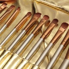 Best 24 Pcs Golden Makeup Brushes Set Foundation Blush Beauty Facial Brush With…