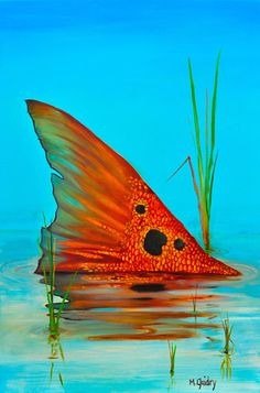 Tailing Redfish oil painting by Michael Guidry Fish Artwork, Fish Paintings, Colorful Fish, Red Fish, Fly Fishing, Saltwater Fishing, Wildlife Art, Art Projects, Artsy