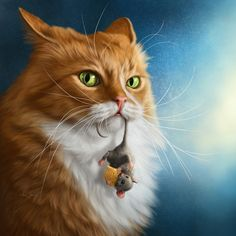 "This reminds me of Penny. Always her ""mouse"" in her mouth 💞 - Cats - Katzen Wallpaper Gatos, Cat Wallpaper, Trendy Wallpaper, Warrior Cats, Cute Animal Drawings, Tier Fotos, Cat Drawing, Animal Paintings, Beautiful Cats"