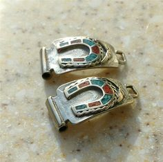 Vintage Navajo Sterling Silver WATCH TIPS lucky Horseshoe