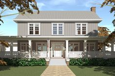 Farmhouse Style House Plan - 5 Beds 4.5 Baths 4742 Sq/Ft Plan #64-248 Exterior - Front Elevation - Houseplans.com