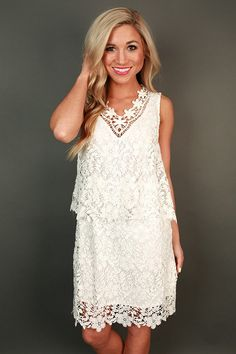 Crochet Kisses Shift Dress in White