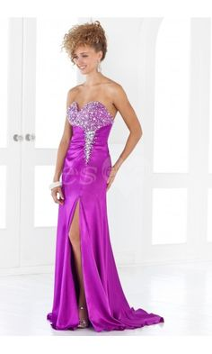 Stunning Sweetheart Strapless Fuchsia Long Prom Dresses with slit front.$219.99