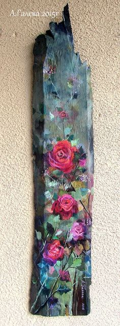 A. Galeva Pallet Painting, Wood Painting Art, Tole Painting, Driftwood Projects, Driftwood Art, Wood Pallet Signs, Pallet Art, Painted Boards, Rustic Art
