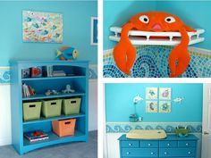 love the painted shelves and the lobster. I am thinking about the Trudi whale / dolphin soft toy as a feature