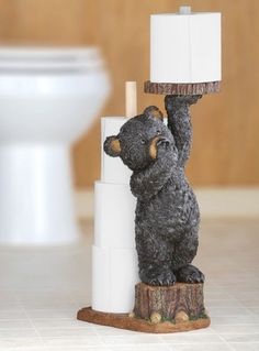 Northwoods Bear Bathroom Toilet Paper Holder Collections Etc
