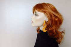 orange plastic earrings, oversized 80s earrings, statement earrings, large drop earrings, costume jewelry by vintage2049 on Etsy