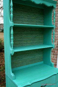 Wall Paper in the back of a bookcase #refinished #furniture