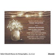 Baby's Breath Mason Jar String Lights Wedding 5x7 Paper Invitation Card