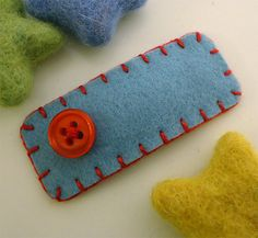 NO SLIP Wool felt hair clip Red jelly buttoned aqua by MayCrimson, $6.00