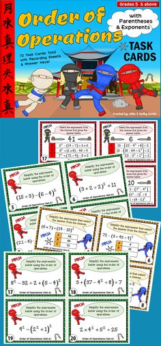 This order of operations pack contains a total of seventy-two (72) task cards divided into three (3) sets! $