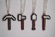 Minecraft tools metal style necklaces hama perler beads by BIGBEADSUK