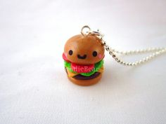 Kawaii Cheeseburger Food Polymer Clay Necklace by DoodieBear, $10.00