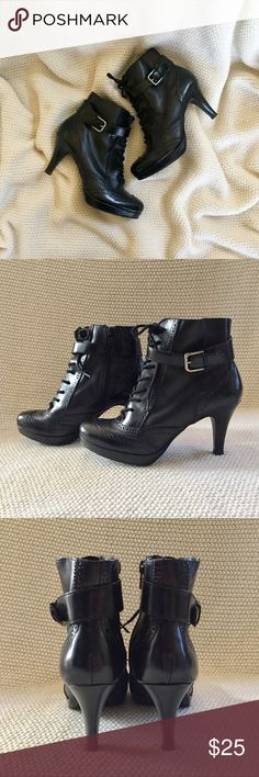 Apt. 9 Lace Up Ankle Booties Lace up Oxford style ankle booties. Faux leather. Side zipper closure. Some scuff marks (see pics 6 and 7). Apt. 9 Shoes Ankle Boots & Booties