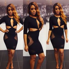 Wholesale 2014 Summer Women Sexy Cocktail bodycon dress black hole hollow out nightclub party bandage Club wear dresses vestidos $11.99