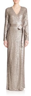 $1,600, Silver Sequin Evening Dress: Diane von Furstenberg Ariel Sequined Silk Wrap Gown. Sold by Saks Fifth Avenue. Click for more info: https://lookastic.com/women/shop_items/268289/redirect