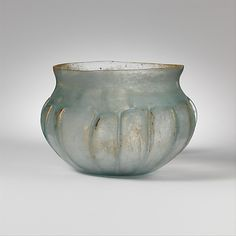 Glass ribbed bowl Period: Early Imperial Date: mid-1st century A.D. Culture: Roman Medium: Glass; blown and tooled