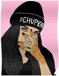 'Chup kar Beanie Girl ' Poster by pakistanimartha Indian Aesthetic, Aesthetic Art, Girl Cartoon, Cartoon Art, Thriller, Modern Indian Art, Indian Illustration, Simple Canvas Paintings, Girl Beanie