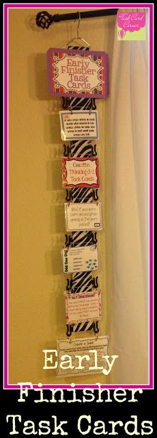 Task Card Corner: Early Finisher Task Cards : Beyond Busy Work! How do you keep kids from staring at the task cards, but not working? Classroom Organisation, Classroom Design, Classroom Fun, Classroom Displays, School Organization, Classroom Management, Chevron Classroom, Behavior Management, Z Cards