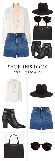 """""""Untitled #532"""" by alejandramalagon ❤ liked on Polyvore featuring Anthony Vaccarello, rag & bone, Yves Saint Laurent, River Island and Prada"""
