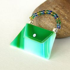 Fused Glass Purse Pin Brooch two small bales secure wired beaded handle!