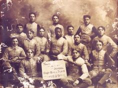 """The FIRST AFRICAN AMERICAN PROFESSIONAL FOOTBALL PLAYER, Charles W. Follis (holding ball), born February 3, 1879, in Cloverdale, Virginia.   He attended Wooster High School and helped establish the first varsity football team, playing right halfback and team captain.  In 1901, he entered the College of Wooster.  Rather than playing football for the college, he played for the town's amateur football team –  where he earned the nickname of the """"BLACK CYCLONE FROM WOOSTER."""""""