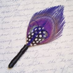 CAPRI BOUTONNIERE Purple Peacock Feather by TheHeadbandShoppe