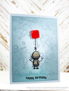 Lawn Fawn - Beep Boop Birthday _ adorable card by Vanessa at wings of a butterfly: A Cute Robot