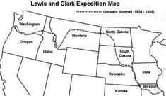 Lewis and Clark Map - Outward Journey