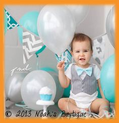 Cake Smash Outfit Baby Boy Aqua and Grey por NoahsBoytiques