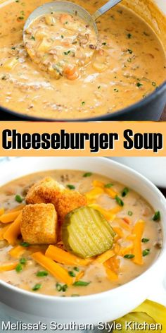 This rich and filling Cheeseburger Soup is like a burger without the bun #cheeseburgersoup #cheeseburgers #soup #souprecipes #groundbeefrecipes #burgers #easygroundbeefrecipes #dinner #dinnerideas #cheese #southernfood #southernrecipes Ground Beef Recipes Easy, Easy Soup Recipes, Chili Recipes, Slow Cooker Recipes, Great Recipes, Dinner Recipes, Cooking Recipes, Favorite Recipes, Healthy Soup