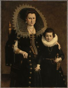 Portrait de femme avec un enfant Description : 1er tiers 17e siècle