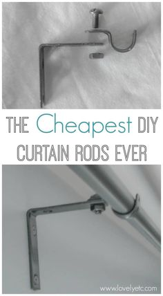 Forget buying expensive curtains rods - these cheap DIY curtain rods are super simple to make. All you need are some inexpensive supplies from the hardware store. curtain rods The cheapest DIY curtain rods ever - Lovely Etc. Cheap Curtain Rods, Cheap Curtains, Hanging Curtains, Diy Curtains, Blue Curtains, Layered Curtains, Double Curtains, Bedroom Curtains, Shower Curtains