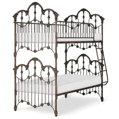 "Complete metal bunk bed with flower details and optional painted rails, additional upcharge. 87"" Overall Height 13"" Guard Rail Height 12"" Ladder Width Shown at 15"" Trundle Rail Height Shown in Deluxe"