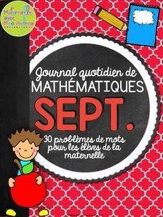 Journal quotidien de mathématiques - septembre (French September math journal prompts)