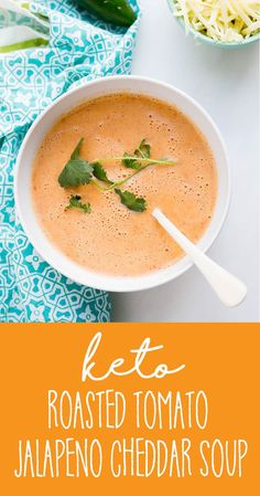 Keto Roasted Tomato Jalapeno Cheddar Soup – Perry's Plate Ketogenic Recipes, Low Carb Recipes, Cooking Recipes, Healthy Recipes, Ketogenic Diet, Low Carb Vegitarian Recipes, Health Soup Recipes, Pasta Recipes, Keto Veggie Recipes