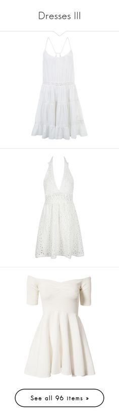 """Dresses III"" by candysweetieglam ❤ liked on Polyvore featuring white, red, Blue, party, dresses, vestidos, lace panel dress, white tiered dress, lightweight dresses and camisole dress"