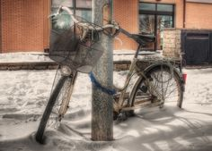 bike in the snow - HDR Photo