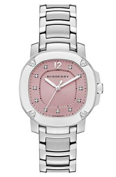 0210202ccba Burberry The Britain Diamond Dial Bracelet Watch, 34mm available at # Nordstrom Pink Diamond Jewelry