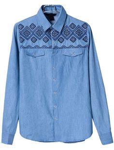 Blue Lapel Long Sleeve Embroidered Denim Blouse US$34.10