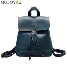 Click image to buyt  Korean Women Backpack Casual PU Leather Backpack Hasp  School Travel Bag for Teenager Girls Shoulder Bag Female Daypack Mochila ... cde0fe4622d22