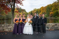 Beautiful bridal party from this fall themed wedding at Dolce Norwalk, CT.  Orange Bouquets & purple bridesmaid dresses.  NY CT Wedding Photography www.stephaniejeanphoto.com