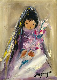 DeGrazia's beloved children. The Gallery in the Sun is open daily from 10-4; free admission. #NationalHistoricDistrict #DeGrazia #Artist #Ettore #Ted #GalleryInTheSun #ArtGallery #Gallery #Adobe #Architecture #Tucson #Arizona #AZ #Catalinas #Desert #PaletteKnife #Colors #Oil #Painting #Children #Girl #Flowers
