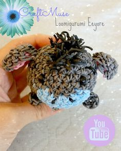 Hello everyone, here is a tutorial for one of my favorite characters Eeyore inspired by the game TSUM TSUM. Rainbow Loom Tutorials, Rainbow Loom Patterns, Rainbow Loom Creations, Rainbow Loom Bands, Rainbow Loom Charms, Rainbow Loom Bracelets, Rubber Band Crafts, Rubber Bands, Loom Band Bracelets