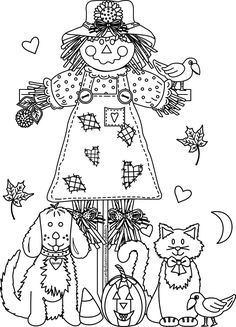 A fun scarecrow clipart and coloring page for all of us in the