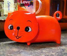 VTG 1960s MID Century Modern Orange Red Ceramic Retro MOD Cat Face Groovy Bank