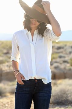 Wide brim hat and white button up