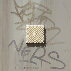 Invarsive art - Permutation 14 as 3d print urban art installation on dirty…
