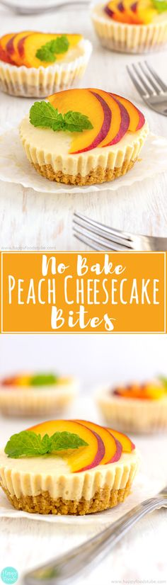 No Bake Peach Cheesecake Bites are so delicious party food. Make ahead mini desserts and go fast every time! | happyfoodstube.com